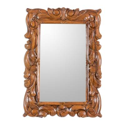 Guatemalan Artisan Crafted Carved Wood Wall Mirror