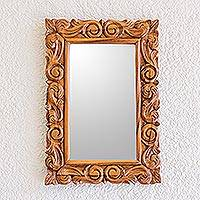 Mirror, 'Eternal Spring' - Artisan Crafted Classic Carved Wood Wall Mirror