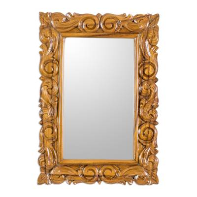 Artisan Crafted Classic Carved Wood Wall Mirror