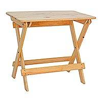 Wood folding table, 'Picnic Day' - Handcrafted Palo Blanco Wood Folding Table from Guatemala