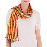 Cotton scarf, 'Guatemala Vibrance' - Maya Handloomed Orange and Blue Cotton Scarf