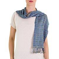 Cotton scarf, 'Aqua Jungle Orchids' - Guatemala Aqua Cotton Backstrap Loom Woven Scarf