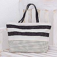 Cotton tote handbag, 'White Sand' - Hand Woven Black White and Beige Cotton Tote Handbag