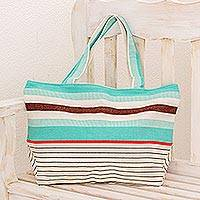 Cotton tote handbag, 'Sand and Sea' - Guatemala Handwoven Turquoise and White Cotton Tote Handbag