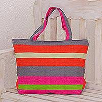Cotton tote handbag, 'Tropical Trend' - Artisan Woven Bright Cotton Tote Bag in Tropical Colors