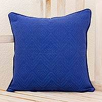 Cotton cushion cover, 'Sky Nuances' - Blue Diamond Texture Maya Backstrap Handwoven Cushion Cover