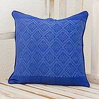 Cotton cushion cover, 'Sky Diamonds' - Diamond Texture Maya Handwoven Blue Cotton Cushion Cover