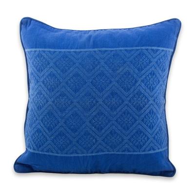 Diamond Texture Maya Handwoven Blue Cotton Cushion Cover
