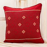 Cotton cushion cover, 'Mountains of Solola' - Maya Handwoven Burgundy Cotton Cushion Cover from Guatemala