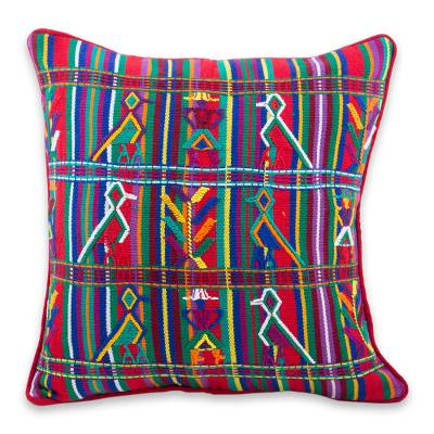 Cotton cushion cover, 'Red Birds in Corn' - Multicolor Cotton Maya Backstrap Loom Woven Cushion Cover