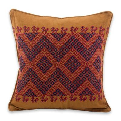Cotton cushion cover, 'Traditional Symmetry' - Maya Backstrap Loom Woven Earth Tone Cotton Cushion Cover