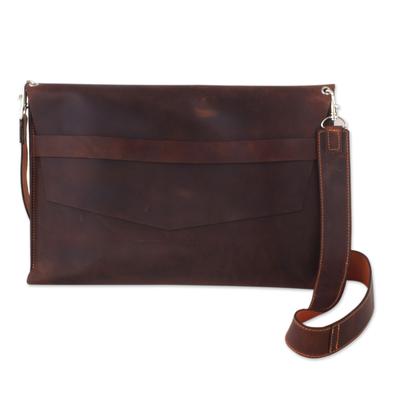 Brown Leather 13-inch Laptop Shoulder Bag Case - Minimalist Data ...Brown Leather 13-inch Laptop Shoulder Bag Case, 'Minimalist Data Traveler'