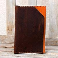Leather iPad mini sleeve, 'Orange Minimalism' - Brown and Orange Leather Sleeve for Ipad Mini