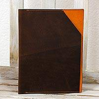 Leather iPad sleeve, 'Orange Minimalism' - Ipad Tablet Sleeve Brown and Orange Leather