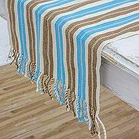 Cotton table runner, 'Sky and Earth' - Hand Woven Cotton Table Runner with Natural Color Dyes