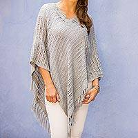 Cotton poncho, 'Grey Lattice'