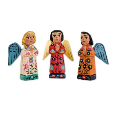Wood figurines, 'Angelic Guardians of Peace' (set of 3) - Fair Trade Angel Figurines Hand Crafted Sculptures (Set 3)