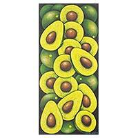 'Avocados' - Realist Painting of Whole and Halved Avocados Signed Art