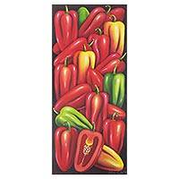 'Chili Peppers' - Signed Realist Painting of Red Guatemalan Chili Peppers
