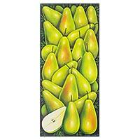 'Pear' - Original Painting of Multiple Green Pears Signed Realism Art