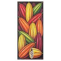 'Cocoa' - Colorful Cocoa Beans Oil on Canvas Painting Signed by Artist