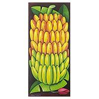 'Banana Tree' - Guatemalan Realist Painting of Ripening Bananas