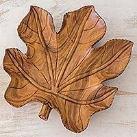 Wood centerpiece, 'Fig Leaf' - Guatemalan Hand Carved Leaf Shape Raintree Wood Centerpiece