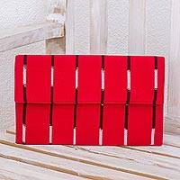Cotton clutch bag, 'Crimson Parallel' - Red Striped Clutch Hand Woven Cotton Bag Fully Lined