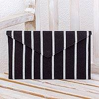 Cotton clutch bag, 'Monochrome Parallels' - Black and White Clutch Bag in Hand Woven Cotton