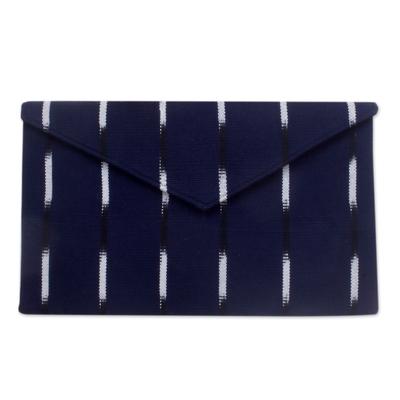 Novica Cotton clutch bag, White Parallels