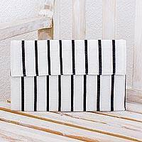 Cotton clutch bag, 'White Parallels' - White and Black Clutch Bag in Hand Woven Cotton