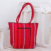 Cotton tote bag, 'Crimson Fiesta' - Red Tote Shoulder Bag in Hand Woven Cotton