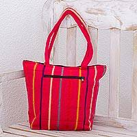 Cotton tote bag, 'Fuchsia Fiesta' - Fuchsia Tote Shoulder Bag in Hand Woven Cotton