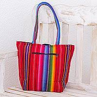 Cotton tote bag, 'Rainbow Fiesta' - Multi Color Tote Shoulder Bag in Hand Woven Cotton