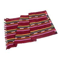 Cotton table runner, 'Red Paths to Chichicastenango' - Hand Woven Cotton Table Runner in Red from Guatemala