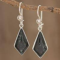 Dark green jade dangle earrings, 'Jungle Pyramids' - Dark Green Guatemalan Jade Earrings in Sterling Silver