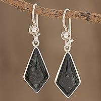 Dark green jade dangle earrings, 'Jungle Pyramids' - Dark Green Guatemalan Jade Earrings in Sterling Silver