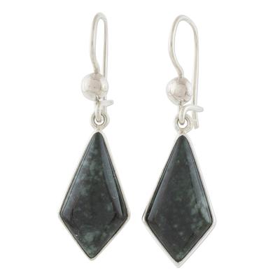 Dark Green Guatemalan Jade Earrings in Sterling Silver