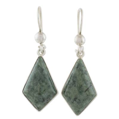 Jade Earrings with Sterling Silver Settings from Guatemala