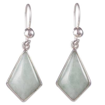 Very Light Green Jade in Sterling Silver Geometric Earrings