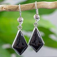 Black jade dangle earrings, 'Jungle Pyramids' - Black Guatemalan Jade Earrings in Sterling Silver