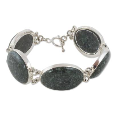 Dark green jade link bracelet, 'Voluptuous Green' - Sterling Silver Link Bracelet with Dark Green Jade