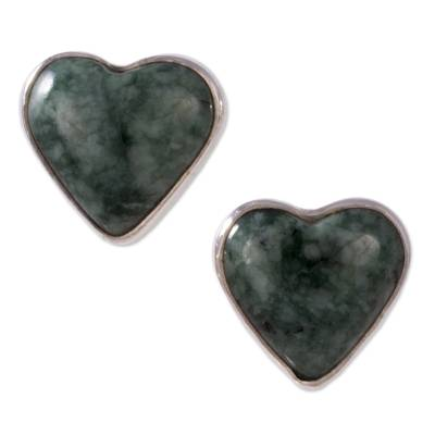 Jade Heart Earrings Artisan Crafted Jewelry