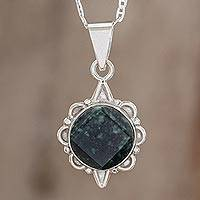 Dark green jade pendant necklace, 'North and South' - Dark Green Guatemalan Jade Necklace in Sterling Silver