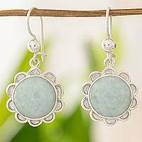 Jade flower earrings, 'Solar Apple Flower' - Sterling Silver Flower Earrings with Light Green Jade