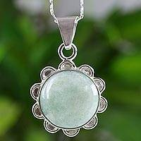 Jade flower necklace, 'Solar Apple Flower'