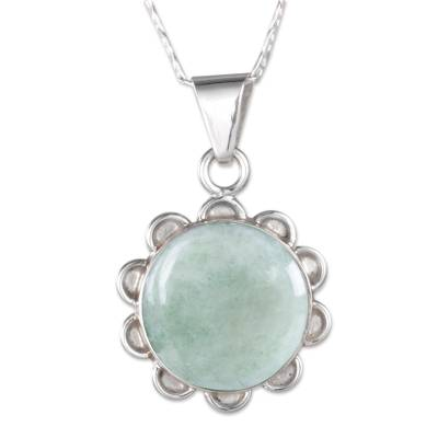 Jade flower necklace, 'Solar Apple Flower' - Light Green Jade in Sterling Silver Flower Necklace