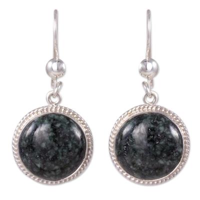Dark Green Guatemalan Jade Sterling Silver Dangle Earrings
