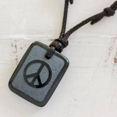 Jade pendant necklace, 'Peace and Love' - Jade Peace and Love Pendant on Black Leather Necklace