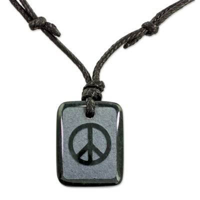 Jade Peace and Love Pendant on Black Leather Necklace